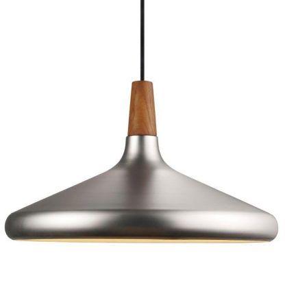 srebrna delikatna lampa wisząca z drewnem nad stół