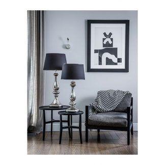 srebrna elegancka lampa stołowa do salonu aranżacja