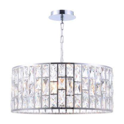 srebrna kryształowa lampa wisząca do jadalni