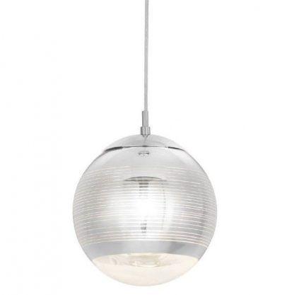 srebrna kula - duża lampa wisząca na schody