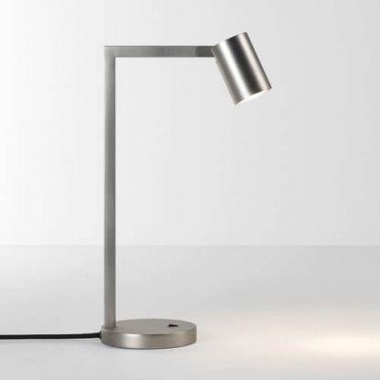 lampa biurkowa srebrna z małym reflektorekiem