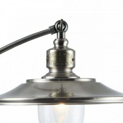 srebrna lampa biurkowa vintage metalowy klosz
