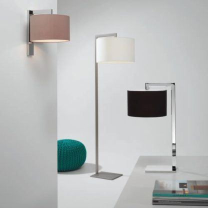 srebrna lampa do sypialni z abażurem nowoczesna