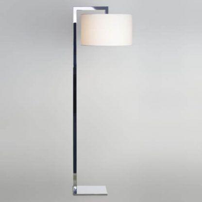 srebrna lampa podłogowa chrom biały abażur