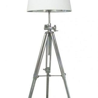 srebrna lampa podłogowa stojaca na 3 nogach - biała