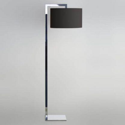 srebrna lampa podłogowa z czarnym abażurem chrom