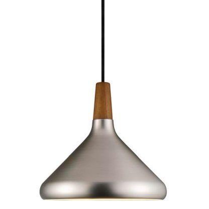 srebrna lampa skandynawska wiszaca nad stół