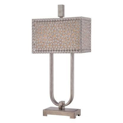 srebrna lampa stołowa klosz z metalowej mozaiki