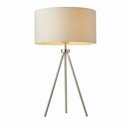 srebrna lampa stołowa trójnóg jasny abażur