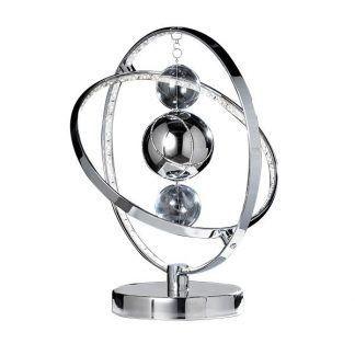 srebrna lampa stołowa w galaktycznym klimacie