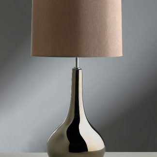 srebrna lampa stołowa w połysku beżowy abażur