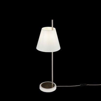 srebrna lampa stołowa z abażurem do sypialni