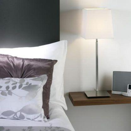 srebrna lampa stołowa z abażurem sypialnia szarość