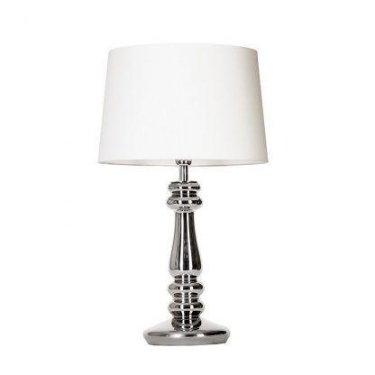srebrna lampa stołowa z białym abażurem do sypialni