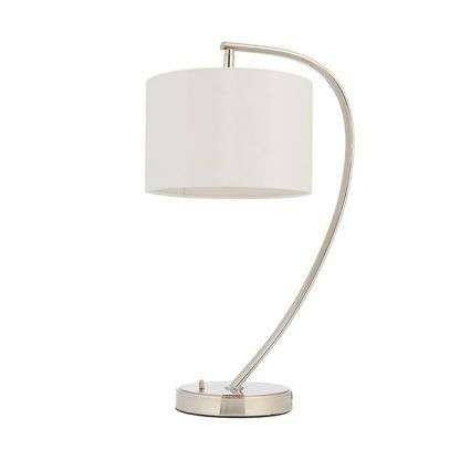 srebrna lampa stołowa z białym abażurem gabinet