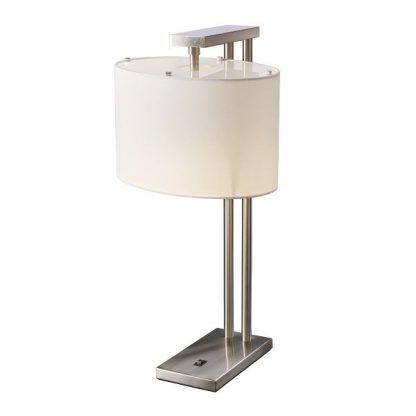 srebrna lampa stołowa z białym owalnym abażurem