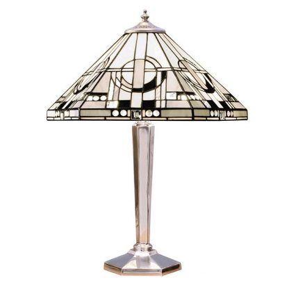 srebrna lampa stołowa z kloszem ze szkła witrażowego