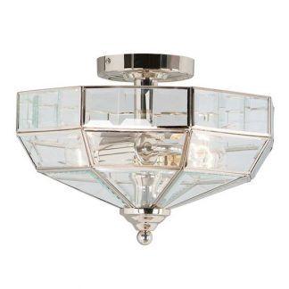 srebrna lampa sufitowa art deco - plafon szklany