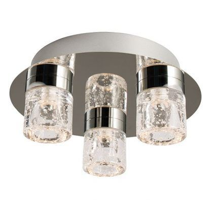 srebrna lampa sufitowa bezbarwne klosze z bąbelkami