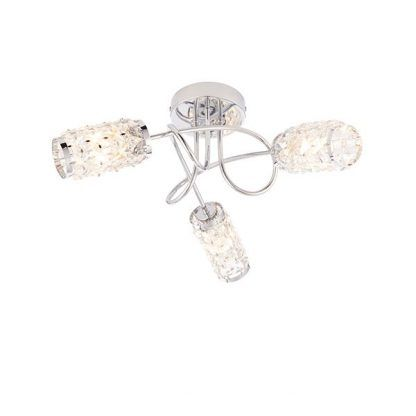 srebrna lampa sufitowa do przedpokoju - szklane klosze