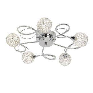 srebrna lampa sufitowa kryształowe kule