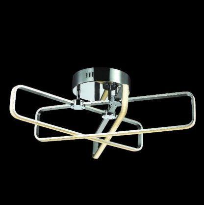 srebrna lampa sufitowa led nowoczesna do salonu