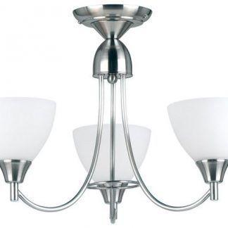 srebrna lampa sufitowa na trzy żarówki z białymi kloszami