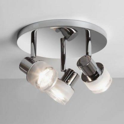 srebrna lampa sufitowa nowoczesna 3 klosze