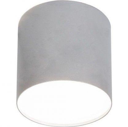 srebrna lampa sufitowa szeroka tuba