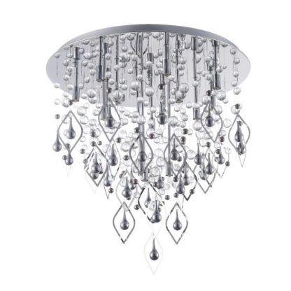 srebrna lampa sufitowa z kryształami - kulki szklane i wisiorki