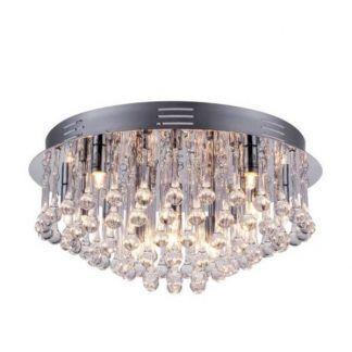 Srebrna lampa sufitowa z kryształkami okrągła podstawa