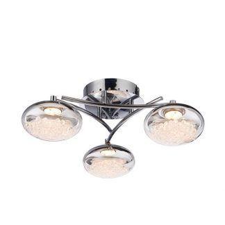 srebrna lampa sufitowa z kryształkami w kloszach
