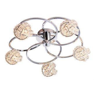srebrna lampa sufitowa z kryształowymi kloszami