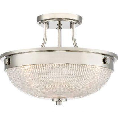 Srebrna lampa sufitowa z okrągłym szklanym kloszem salon