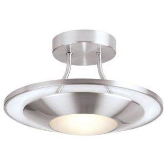 srebrna lampa sufitowa z płaskim kloszem