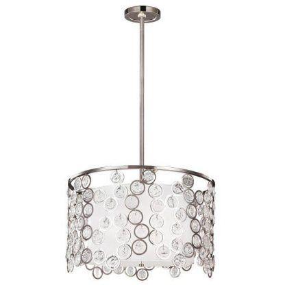 Srebrna lampa wisząca abażur okręgi z kryształkami do salonu