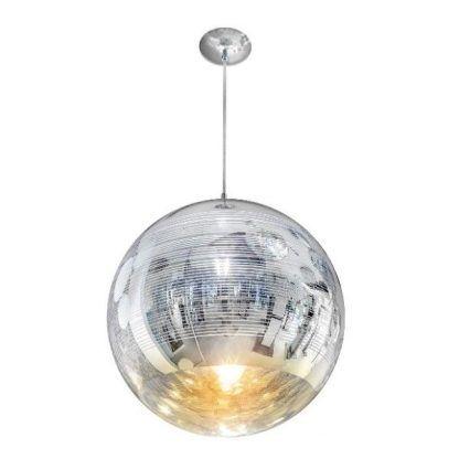 srebrna lampa wisząca ball w połysku do salonu