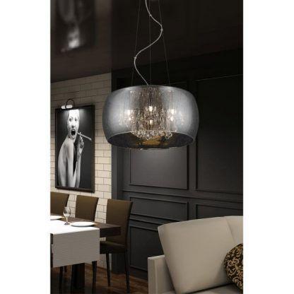 srebrna lampa wisząca glamour do jadalni i restauracji