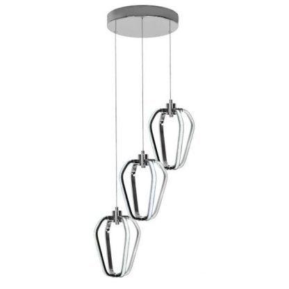 srebrna lampa wisząca led do salonu nowoczesna