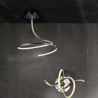 srebrna lampa wisząca led na betonowej ścianie