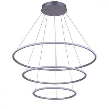srebrna lampa wisząca led okręgi do salonu