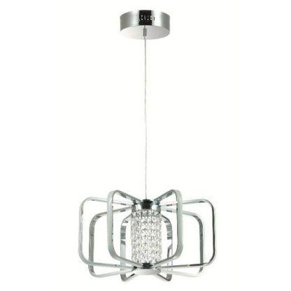 srebrna lampa wisząca led z kryształkami