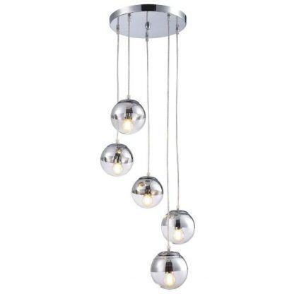 srebrna lampa wisząca małe klosze szklane kulki
