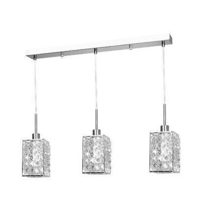srebrna lampa wisząca na trzy kryształowe klosze