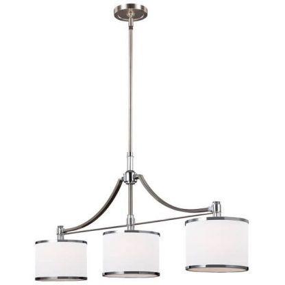 srebrna lampa wisząca nad stół białe małe klosze