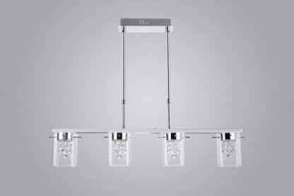 srebrna lampa wisząca nad stół nowoczesna jadalnia