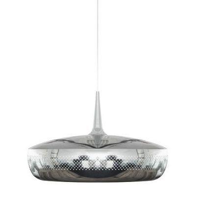 srebrna lampa wisząca okragła szeroka u dołu