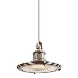 srebrna lampa wisząca przemysłowa, płaski klosz