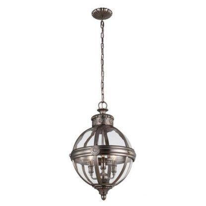 srebrna lampa wisząca szklana kula klasyka