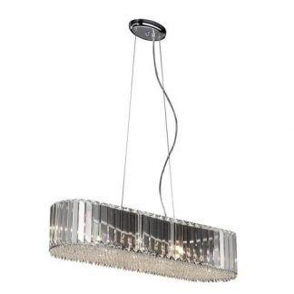 srebrna lampa wiszaca szklana - podłużna nad stół
